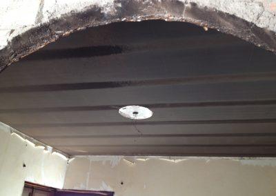 Intervento dopo incendio per abbattimento odori + restauro fontana